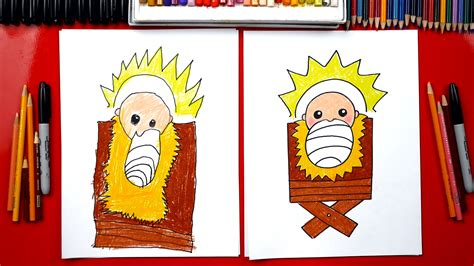 draw baby jesus   manger nativity art