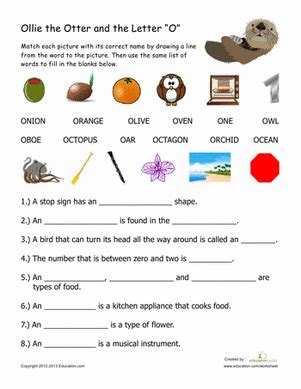 words that begin with quot o quot worksheet education 756 | words sight words spelling first