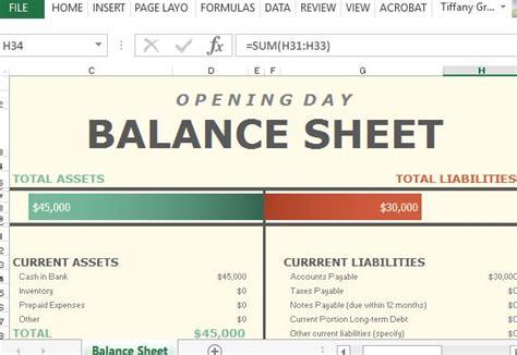 opening day balance sheet  excel