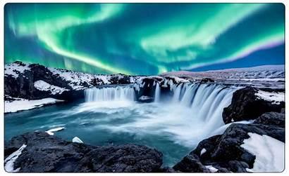 Polarlichter Natur Island Wasserfall Wandtattoo Wandaufkleber Wandsticker