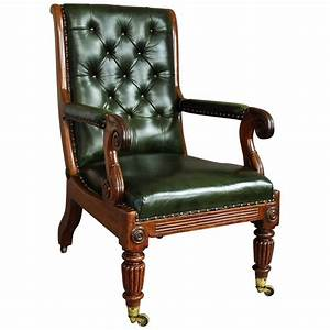 William, Iv, Mahogany, And, Leather, Library, Chair, At, 1stdibs