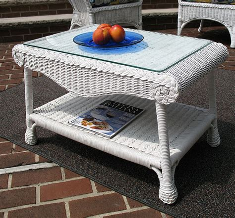 Coffee table made of tiles. Diamond Natural Wicker Coffee Table with Glass Top