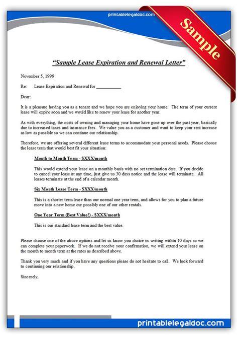 printable sample lease expiration  renewal letter
