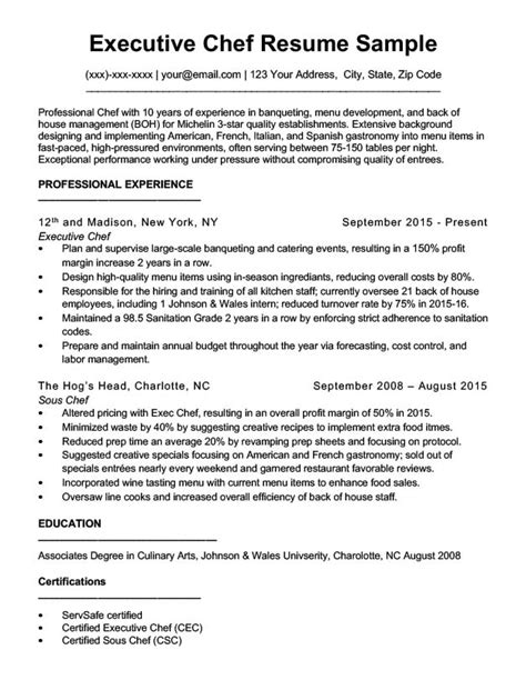 Chef Resume by Beaufiful Chef Resumes Pictures Professional Chef Resume