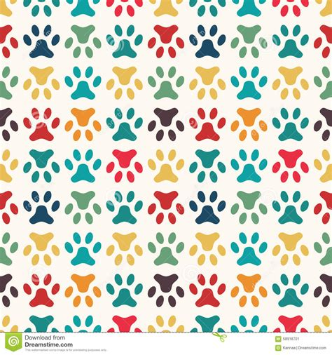 Printing Web Page Background Colors And Images Animal Seamless Vector Pattern Of Paw Footprint Stock