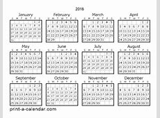 Download 2016 Printable Calendars
