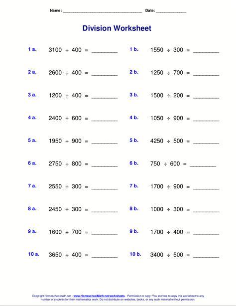 worksheets  division  remainders