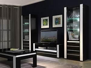 Meuble Salon Blanc : salon meuble tv lina noir et blanc brillant led ~ Dode.kayakingforconservation.com Idées de Décoration