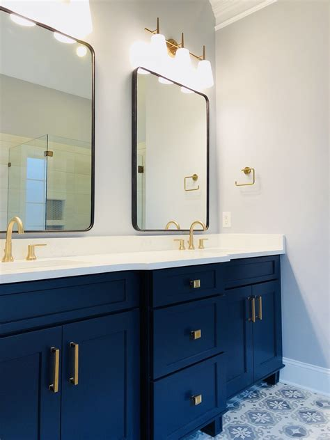 Grey Bathroom Fixtures by Chagne Bronze Fixtures Navy Blue Vanity