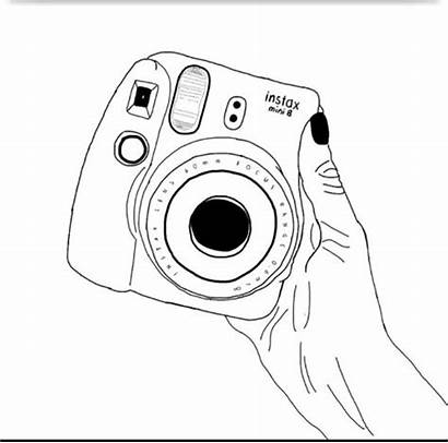Polaroid Camera Drawing Outline Instax Sketch Coloring