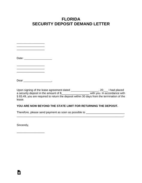 florida security deposit demand letter  word
