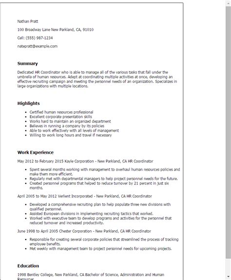 Hr Coordinator Resume by 1 Hr Coordinator Resume Templates Try Them Now