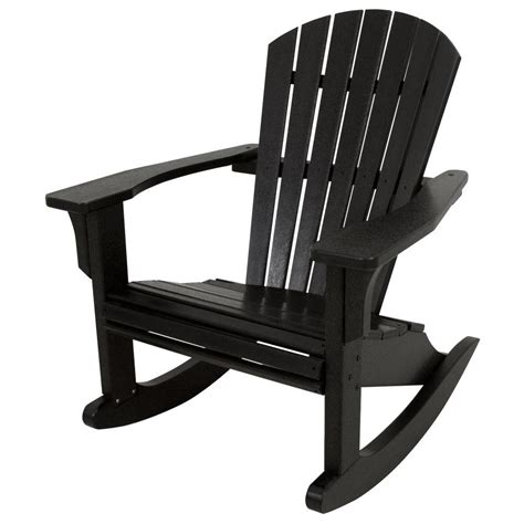 polywood seashell black patio rocker shr22bl the home depot