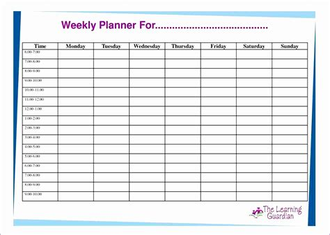 Hourly Schedule Template Weekly Hourly Planner Template Excel Weekly Hourly Planner