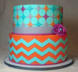 Orange and Teal Chevron Cake