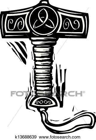 clip art of thor 39 s hammer mjolnir k13688639 search