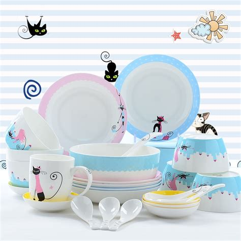 dinnerware cat cute sets plates korean tableware china kitty bone plate designer storage food 28pcs ceramic cheap