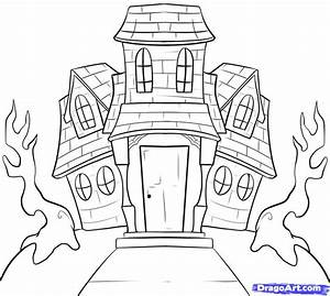 Haunted House clipart easy - Pencil and in color haunted ...