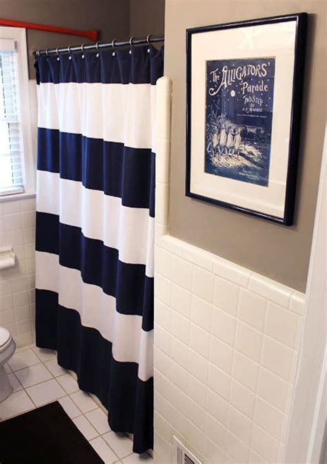 nautical bathroom curtain blue nautical shower curtain