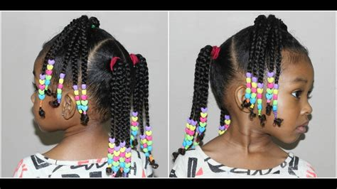 Kids Braided Hairstyle With Beads