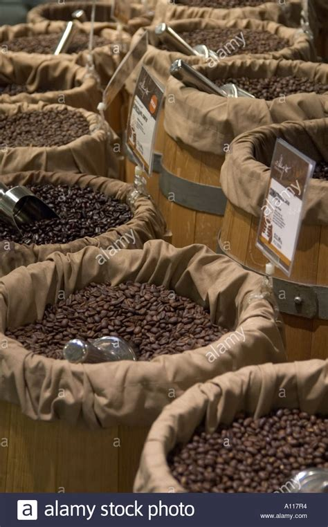Buckets Of Fresh Coffee Beans Arranged In Half Circle At Whol On Dont Freeze Coffee And Five