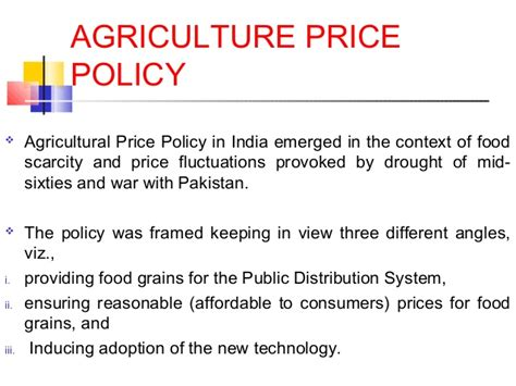 agriculture produce price policy in india