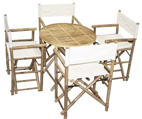 bamboo table and director chairs 5 set white