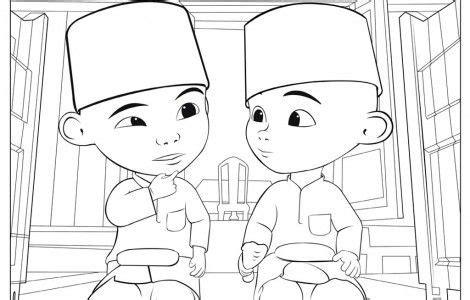 upin ipin muslim coloring page abc   coloring
