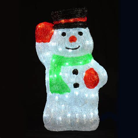 light up snowman acrylic waving snowman led light up decoration