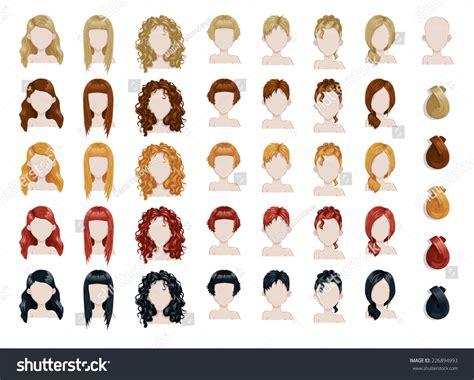 set female hair style sprites vector stock vector