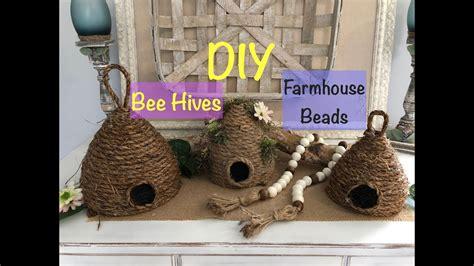 easy bee skep diy farmhouse decor beads dollar tree