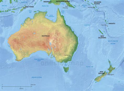 vector map australia  zealand relief  stop map