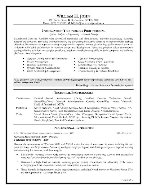 Best Resume Format For Information Technology by Information Technology Resume Exles Berathen