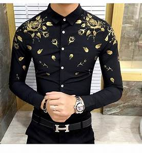 Men Dress Shirt With Gold Print Black White Long Sleeve ...