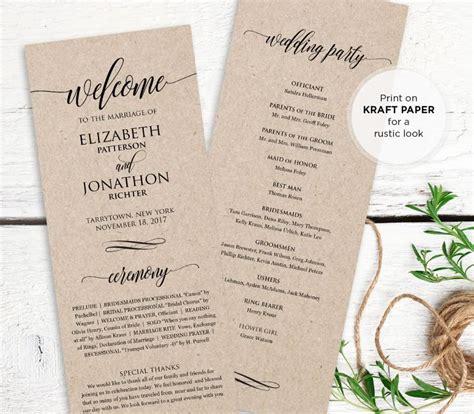 wedding program template text wedding program printable order of service rustic ceremony program template instant