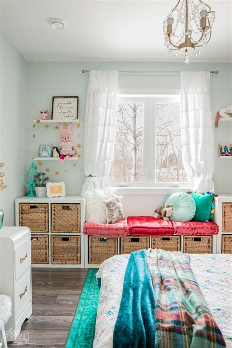 rich magical boho kids bedroom makeover teal walls