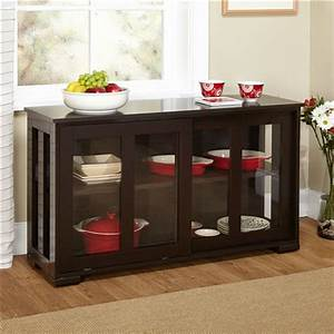 espresso sideboard buffet dining kitchen cabinet with 2 With buffet table with sliding doors