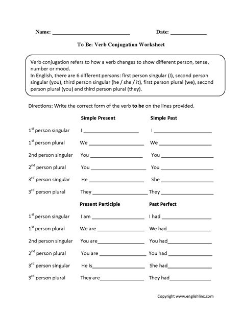 verbs worksheets verb conjugation worksheets