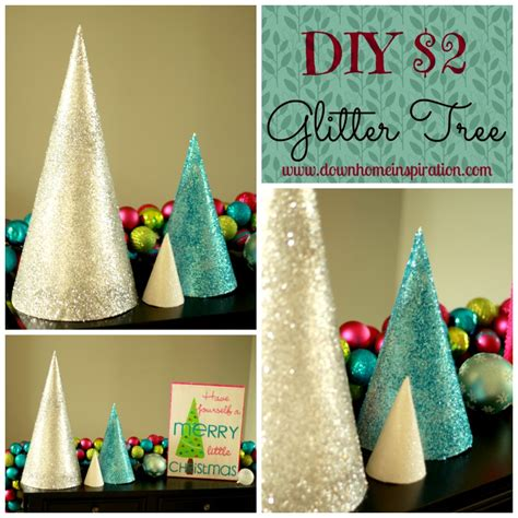 diy  glitter trees  home inspiration
