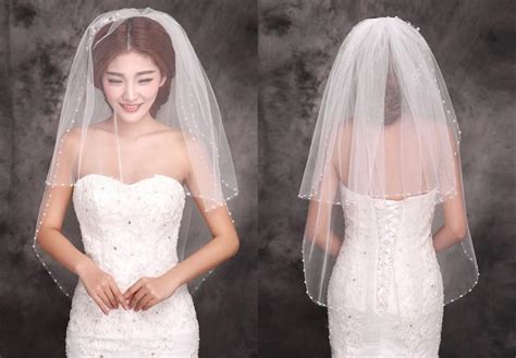 2015 New Stayle Cheap Ivory Bridal Veils Two Layers Beads Edge Tulle Short Veil Bridal Wedding