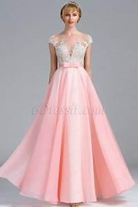 edressit cap sleeves pink lace appliques evening dress With robe de valse