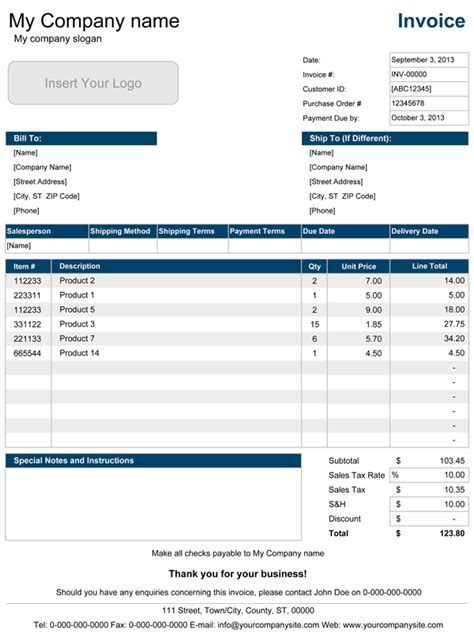sales invoice template  excel