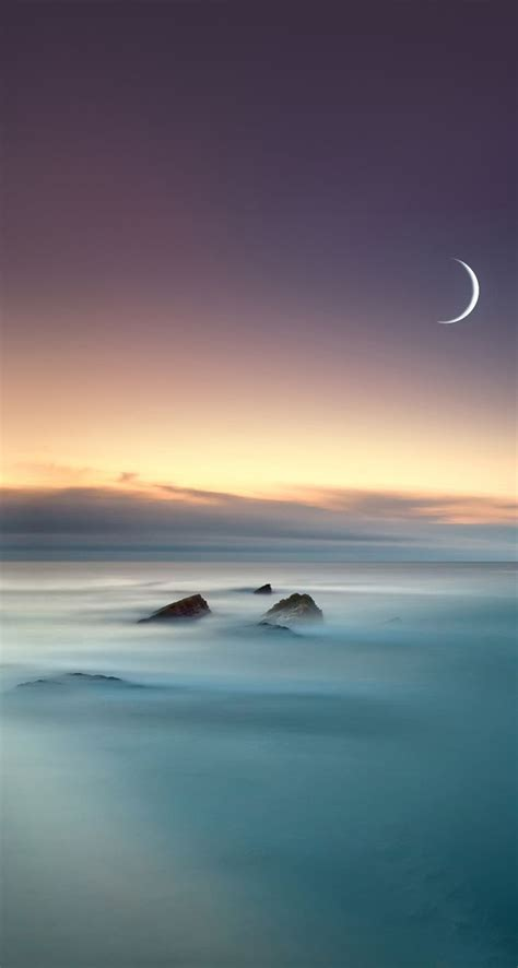 scenic lake fog mist moon eclipse ios  iphone