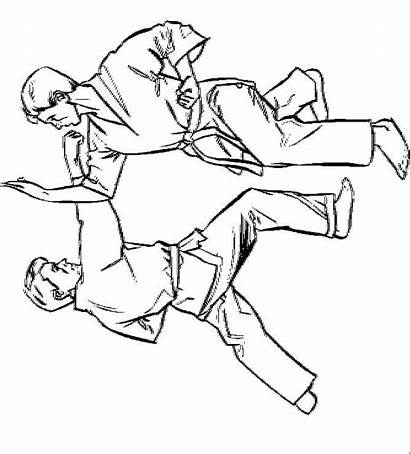 Karate Coloring Pages Martial Arts Printable Clipart