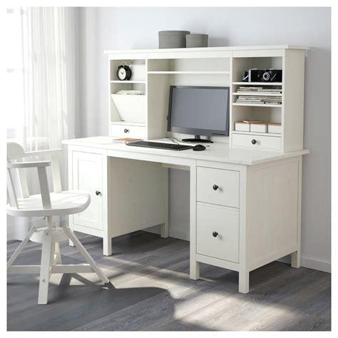 Hemnes Desk With Addon Unit White Stain 155x137 Cm Ikea