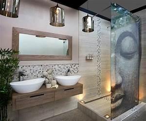 Idée décoration Salle de bain salle de bain zen bambou, miroir design mural, salle de bain mur