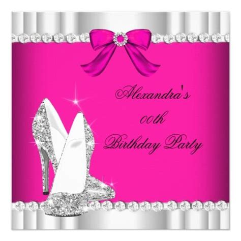 glitter pink silver glamour high heels party invitation