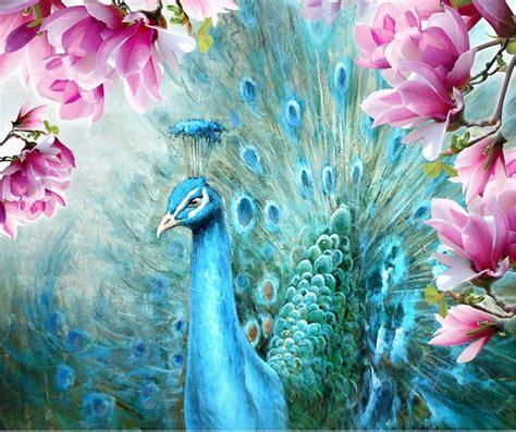 customize  luxury wallpaper peacock magnolia hand