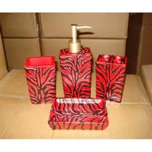 19 piece bath accessory set animal red zebra print