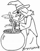 Heksen Kleurplaten Witch Coloring Cauldron Roeren Kookpot sketch template